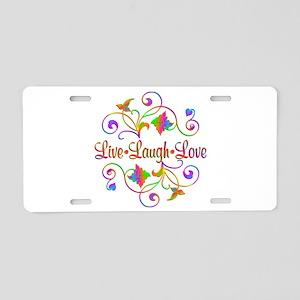 Live Laugh Love Flourish Aluminum License Plate