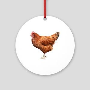 Red Hen Ornament (Round)