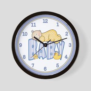 Sleepy Baby (blue) Wall Clock