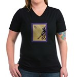Equine T-Shirts Women's V-Neck Dark T-Shirt