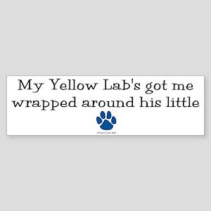 Wrapped Around His Paw (Yellow Lab) Sticker (Bumpe