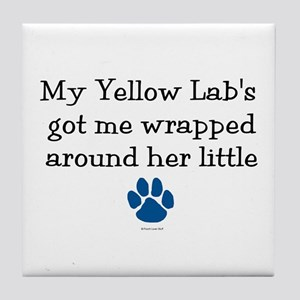 Wrapped Around Her Paw (Yellow Lab) Tile Coaster