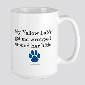 Wrapped Around Her Paw (Yellow Lab) Large Mug