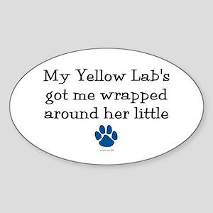 Wrapped Around Her Paw (Yellow Lab) Oval Sticker