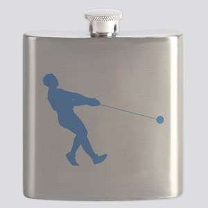 Blue Hammer Throw Silhouette Flask
