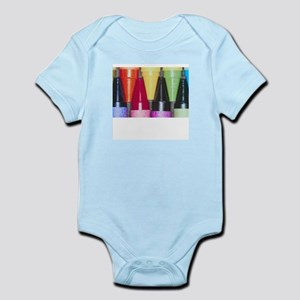 Kids Crayons Blue Infant Bodysuit
