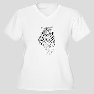 White Bengal Tiger Women's Plus Size V-Neck T-Shir