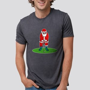 Santa looking in big sack Mens Tri-blend T-Shi