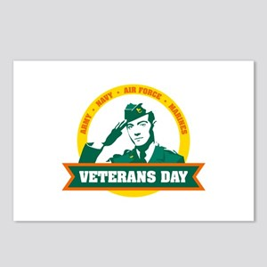 Veterans day salute Postcards (Package of 8)
