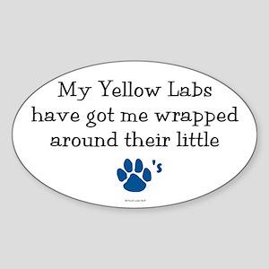 Wrapped Around Their Paws (Yellow Lab) Sticker (Ov