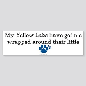 Wrapped Around Their Paws (Yellow Lab) Sticker (Bu