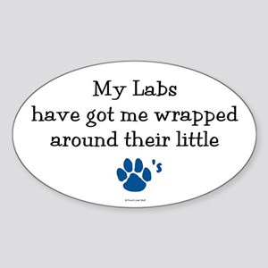 Wrapped Around Their Paws (Lab) Oval Sticker