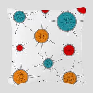 Atomic Era Planets Woven Throw Pillow