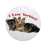 Cute Yorkie Ornament (Round)!