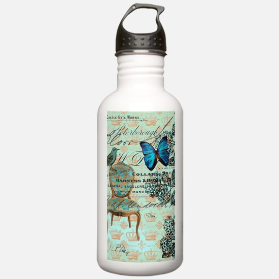 Vintage floral paris Water Bottle