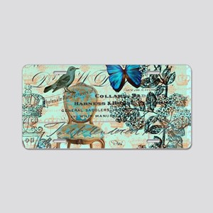 Vintage floral paris Aluminum License Plate