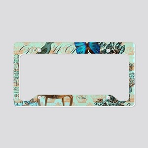 Vintage floral paris License Plate Holder