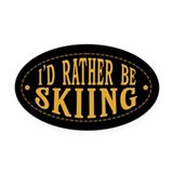 Skiing Oval Car Magnets