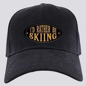 I'd Rather Be Skiing Black Cap with Patch