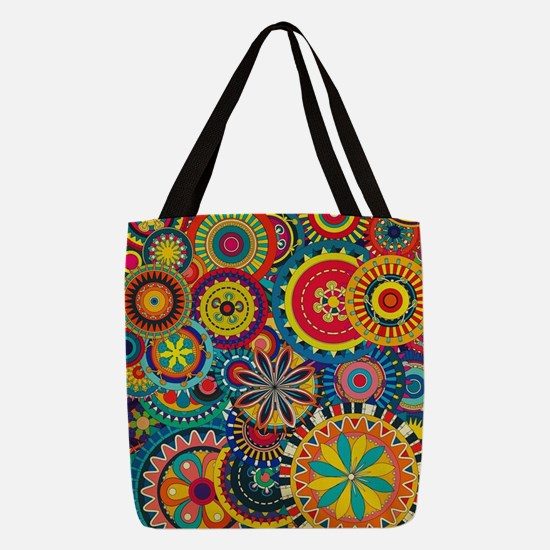 Funky Retro Pattern Polyester Tote Bag