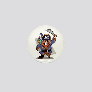 Cartoon Pirate with Parrot Mini Button