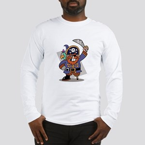 Cartoon Pirate with Parrot Long Sleeve T-Shirt