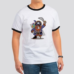 Cartoon Pirate with Parrot Ringer T