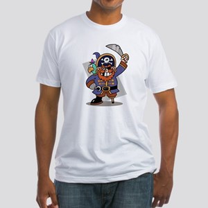 Cartoon Pirate with Parrot Fitted T-Shirt