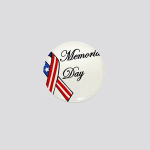 Memorial day with flag ribbon Mini Button