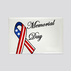 Memorial day with flag ribbon Magnets
