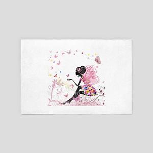 Whimsical Pink Flower Fairy Girl Butte 4' x 6' Rug