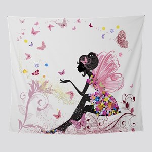 Whimsical Pink Flower Fairy Girl But Wall Tapestry