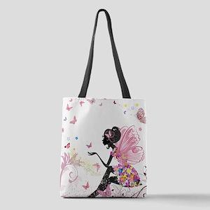 Whimsical Pink Flower Fairy Gir Polyester Tote Bag