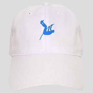 Blue Pole Vaulter Silhouette Baseball Cap