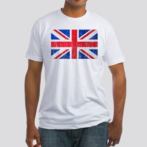 Union Jack Flag Distressed Look Fitted T-Shirt