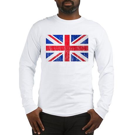 Union Jack Flag Distressed Look Long Sleeve T-Shir