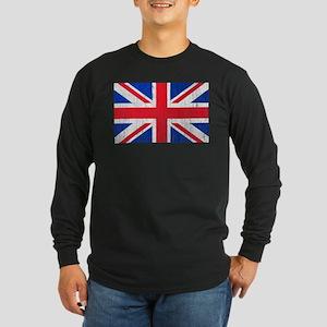 Union Jack Flag Distressed Look Long Sleeve Dark T