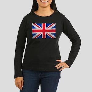 Union Jack Flag Distressed Look Women's Long Sleev