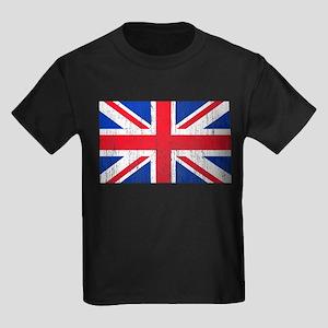 Union Jack Flag Distressed Look Kids Dark T-Shirt