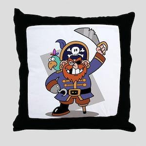 Cartoon Pirate with Parrot Throw Pillow