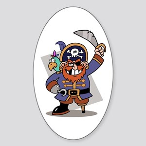 Cartoon Pirate with Parrot Oval Sticker
