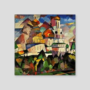 """Lentulov - Churches in New  Square Sticker 3"""" x 3"""""""