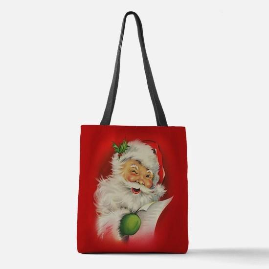 Vintage Christmas Santa Claus Polyester Tote Bag