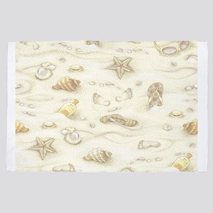 Vintage Summer Beach Pattern 4' x 6' Rug