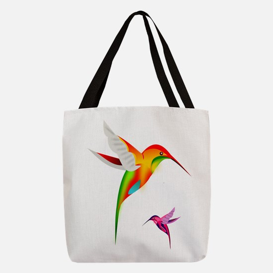 Colorful Hummingbirds Birds Polyester Tote Bag
