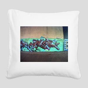 Painting graffiti blue Square Canvas Pillow