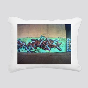 Painting graffiti blue Rectangular Canvas Pillow