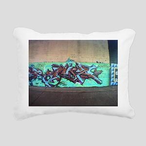 Painting graffiti blue Rectangular Canvas Pillow