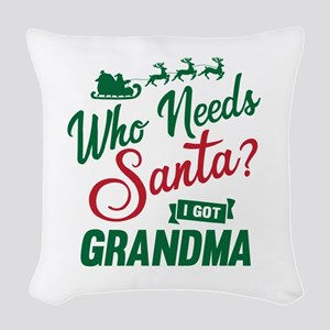 Santa Grandma Woven Throw Pillow