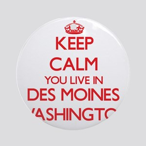 Keep calm you live in Des Moines Ornament (Round)